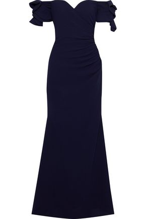 BADGLEY MISCHKA Off-the-shoulder ruffled gathered crepe gown