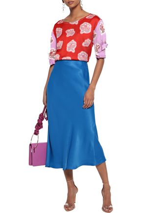 PETER PILOTTO Ruffle-trimmed floral-print hammered-silk blouse