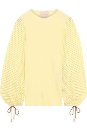 ROKSANDA Open knit-trimmed ribbed-knit top