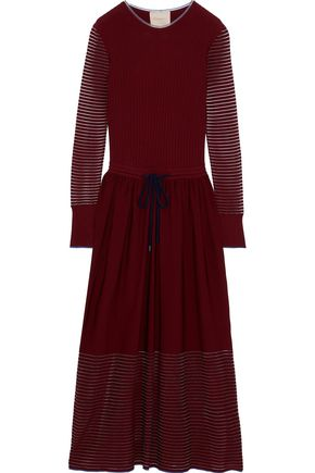 ROKSANDA Open knit-trimmed ribbed-knit  midi dress