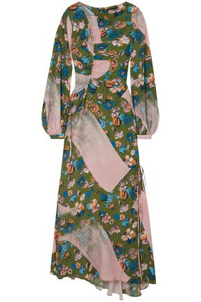 HOUSE OF HOLLAND Ruched floral-print crepe de chine maxi dress