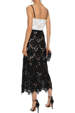 CATHERINE DEANE Frida satin-trimmed guipure lace midi dress