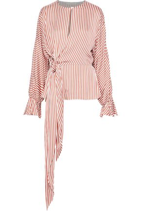 JONATHAN SIMKHAI Wrap-effect striped charmeuse blouse