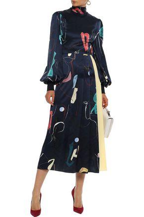ROKSANDA Pleated printed silk-satin and crepe midi dress