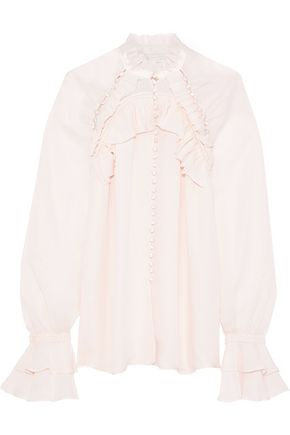JONATHAN SIMKHAI Ruffle-trimmed silk crepe de chine blouse