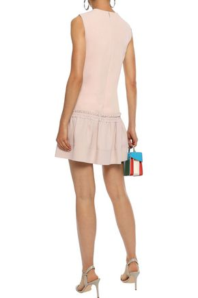ROKSANDA Gathered silk-blend crepe mini dress