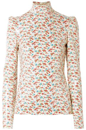 PUSHBUTTON Sequined floral-print voile blouse