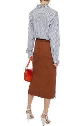 SONIA RYKIEL Crystal-embellished striped cotton-poplin shirt