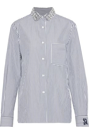 SONIA RYKIEL Crystal-embellished striped cotton-poplin shirt