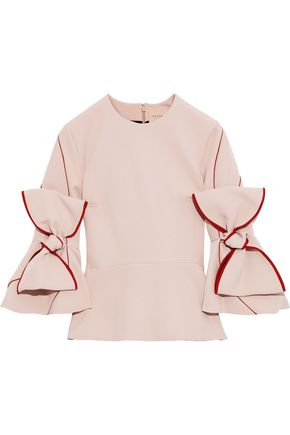ROKSANDA Bow-detailed crepe peplum top