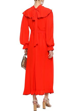 SONIA RYKIEL Ruffled silk crepe de chine midi dress
