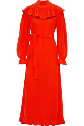 SONIA RYKIEL Ruffled silk crepe de chine midi dress