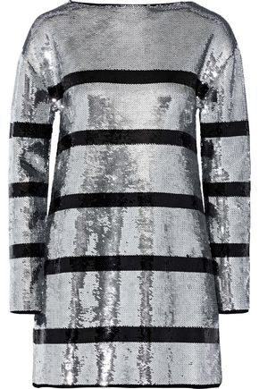 SONIA RYKIEL Striped sequined stretch-knit mini dress