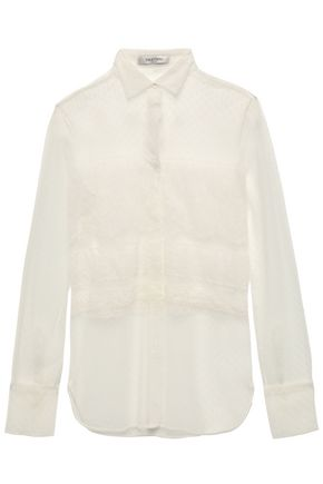 VALENTINO Point d'esprit and lace top