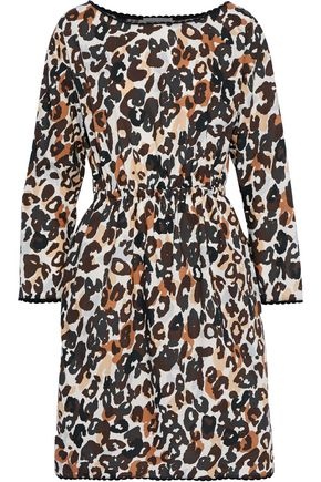 SONIA RYKIEL Gathered leopard-print cotton-poplin dress