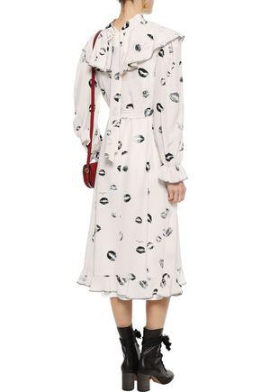 SONIA RYKIEL Ruffled belted printed silk crepe de chine midi dress