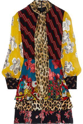 ALICE + OLIVIA Dasha fil coupé chiffon-paneled printed silk crepe de chine mini dress
