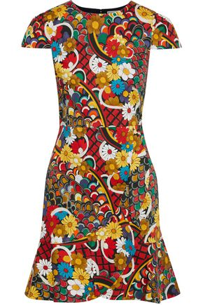 ALICE + OLIVIA Kirby fluted printed stretch-cotton mini dress