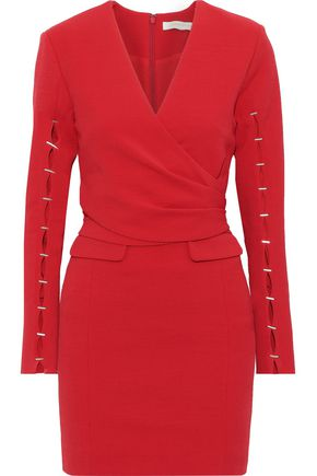 JONATHAN SIMKHAI Wrap-effect cutout embellished woven mini dress