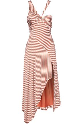 JONATHAN SIMKHAI Asymmetric twist-front striped satin midi dress