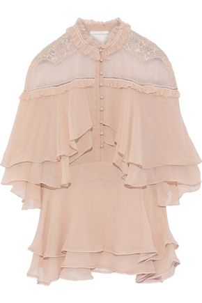 JONATHAN SIMKHAI Layered lace-paneled silk-georgette blouse