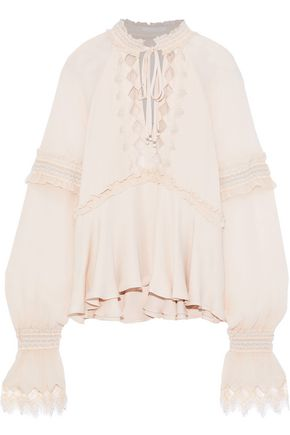 JONATHAN SIMKHAI Lace-trimmed georgette-paneled silk blouse