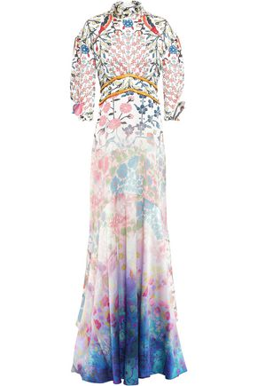 PETER PILOTTO Tie-neck floral-print dégradé hammered stretch-silk gown