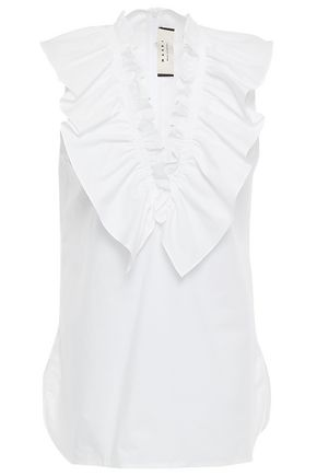 MARNI Ruffled cotton-poplin blouse