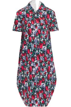 MARNI Cutout printed cotton-poplin shirt dress