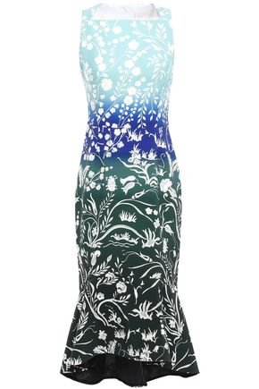 PETER PILOTTO Kia fluted printed cady midi dress