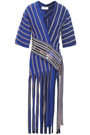 PETER PILOTTO Fringed embellished jacquard-knit wrap top