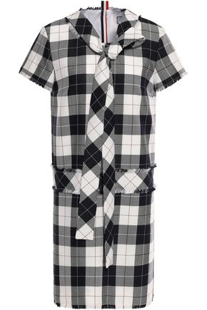 THOM BROWNE Pussy-bow gingham wool-blend mini dress
