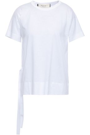 MARNI Lace-up cotton-jersey T-shirt