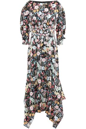 PETER PILOTTO Ruffled floral-print hammered silk-crepe midi dress