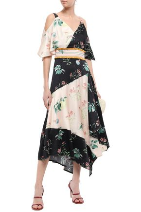 PETER PILOTTO Cold-shoulder printed hammered silk-crepe midi dress