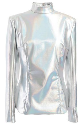 BALMAIN Iridescent stretch-satin turtleneck top