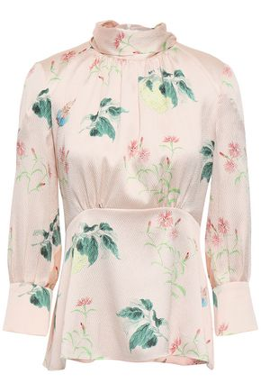 PETER PILOTTO Printed hammered silk-crepe blouse