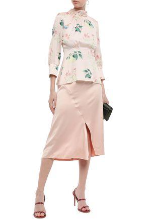 PETER PILOTTO Printed hammered silk-satin blouse