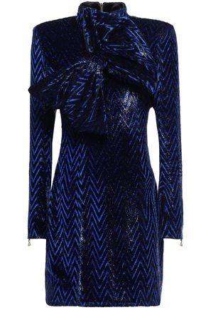BALMAIN Bow-embellished fil coupé turtleneck mini dress