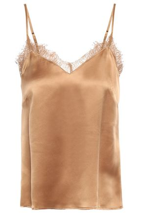Lace Trimmed Washed Silk Camisole by Anine Bing