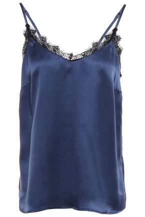 ANINE BING Lace-trimmed silk-charmeuse camisole