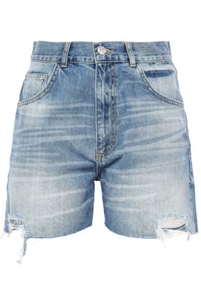 ANINE BING Distressed denim shorts