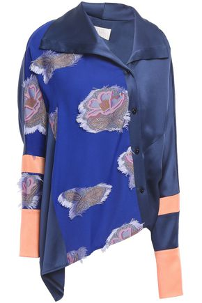 PETER PILOTTO Asymmetric fil coupé satin-crepe blouse