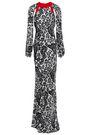 DE LA VALI Cutout printed silk-satin gown