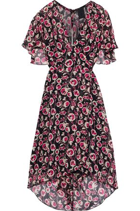 ANNA SUI Belted floral-print silk-chiffon dress