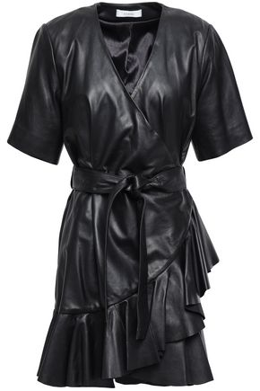 STAND STUDIO Wrap-effect ruffled leather dress