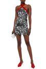 DE LA VALI Velvet-trimmed floral-print silk-satin mini dress
