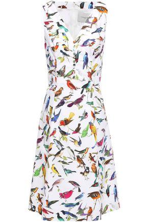 CAROLINA HERRERA Printed stretch-cotton poplin dress