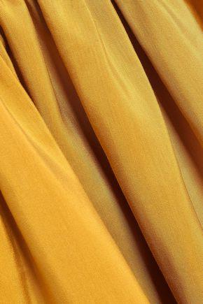 ROKSANDA Gathered color-block linen, cotton and silk-blend maxi dress