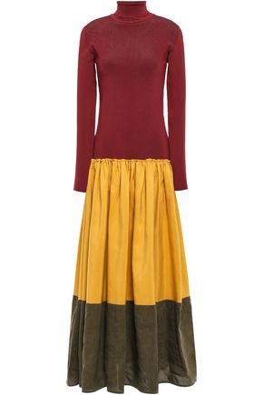 ROKSANDA Gathered color-block linen, cotton and silk-blend maxi dress